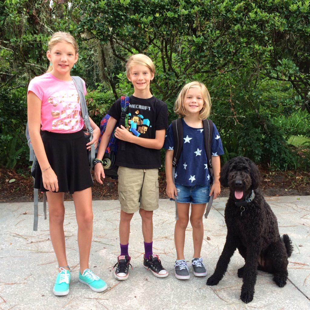 Celeste (11), Grant (8), Eve (6), and Clover